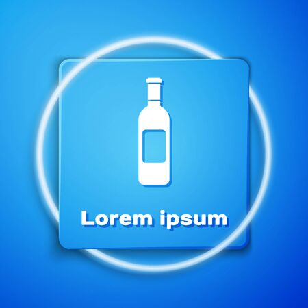 White Bottle of wine icon isolated on blue background. Blue square button. Vector Illustration Stock Illustratie