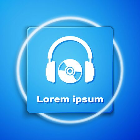White Headphones and CD or DVD icon isolated on blue background. Earphone sign. Compact disk symbol. Blue square button. Vector Illustration