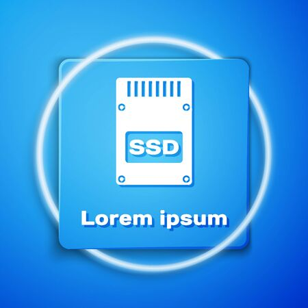 White SSD card icon isolated on blue background. Solid state drive sign. Storage disk symbol. Blue square button. Vector Illustration