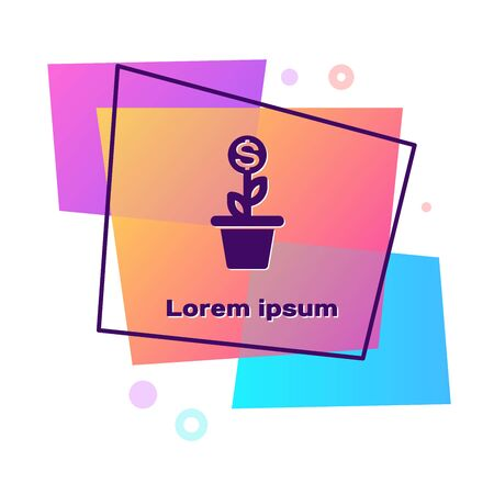 Purple Dollar plant in the pot icon isolated on white background. Business investment growth concept. Money savings and investment. Color rectangle button. Vector Illustration