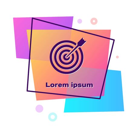 Purple Target with arrow icon isolated on white background. Dart board sign. Archery board icon. Dartboard sign. Business goal concept. Color rectangle button. Vector Illustration