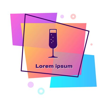 Purple Glass of champagne icon isolated on white background. Color rectangle button. Vector Illustration Illustration