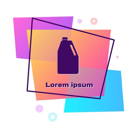 Purple Household chemicals blank plastic bottle icon isolated on white background. Liquid detergent or soap, stain remover, laundry bleach. Color rectangle button. Vector Illustration Ilustracja
