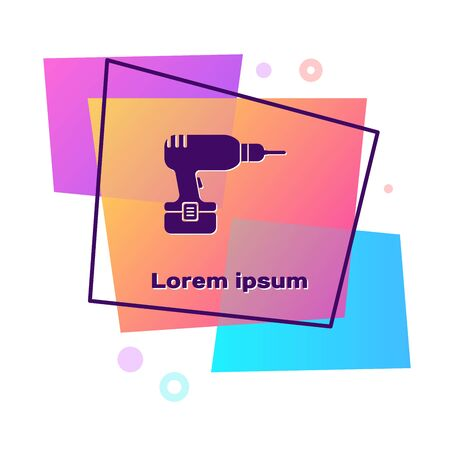 Purple Drill machine icon isolated on white background. Color rectangle button. Vector Illustration