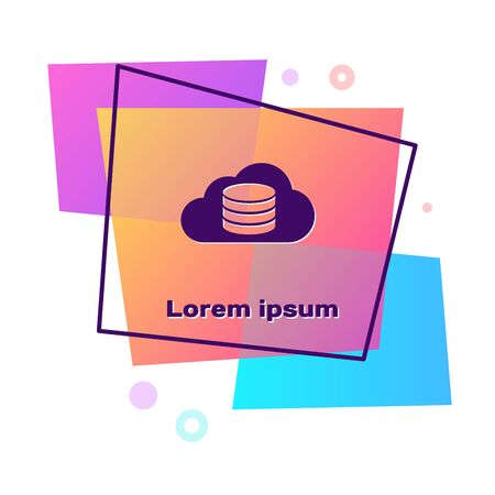 Purple Cloud database icon isolated on white background. Cloud computing concept. Digital service or app with data transferring. Color rectangle button. Vector Illustration