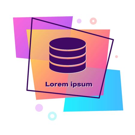 Purple Database icon isolated on white background. Network databases, disc with progress bar. Backup concept. Color rectangle button. Vector Illustration 向量圖像