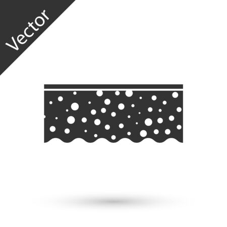 Grey Sponge with bubbles icon isolated on white background.