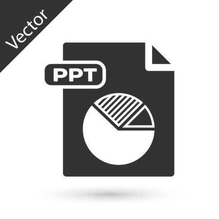 Grey PPT file document. Download ppt button icon isolated on white background. PPT file presentation. Vector Illustration