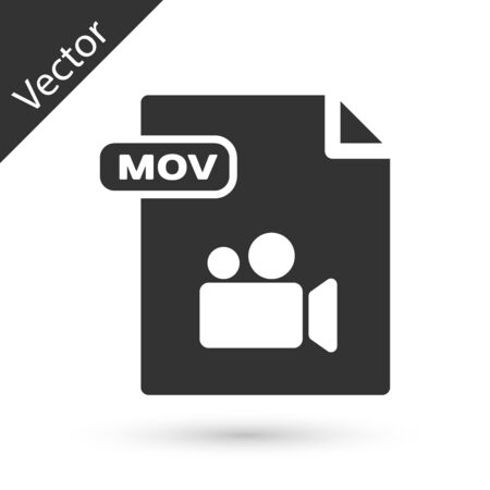 Grey MOV file document. Download mov button icon isolated on white background. MOV file symbol. Audio and video collection. Vector Illustration
