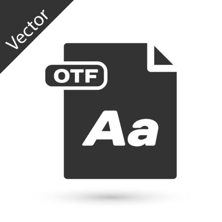 Grey OTF file document. Download otf button icon isolated on white background. OTF file symbol. Vector Illustration
