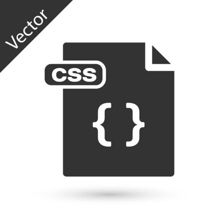 Grey CSS file document. Download css button icon isolated on white background. CSS file symbol. Vector Illustration Ilustração