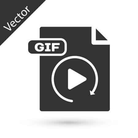 Grey GIF file document. Download gif button icon isolated on white background. GIF file symbol. Vector Illustration Ilustração
