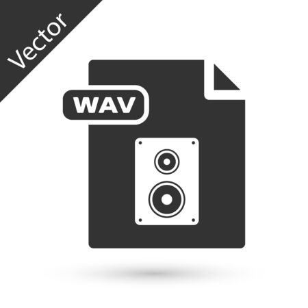 Grey WAV file document. Download wav button icon isolated on white background. WAV waveform audio file format for digital audio riff files. Vector Illustration