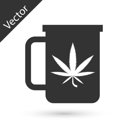 Grey Cup tea with marijuana or cannabis leaf icon isolated on white background. Marijuana legalization. Hemp symbol. Vector Illustration