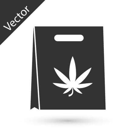 Grey Shopping paper bag of medical marijuana or cannabis leaf icon isolated on white background. Buying cannabis. Hemp symbol. Vector Illustration Illustration