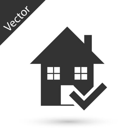 Grey House with check mark icon isolated on white background. Real estate agency or cottage town elite class. Vector Illustration Illusztráció