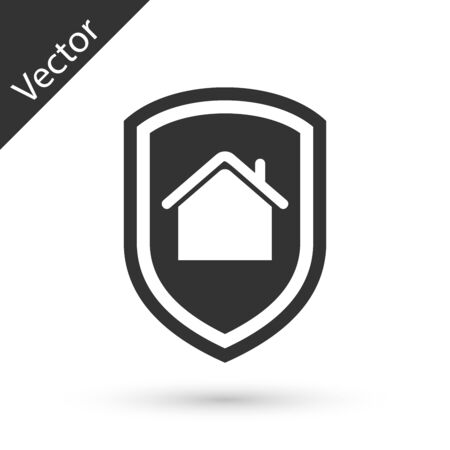 Grey House under protection icon isolated on white background. Home and shield. Protection, safety, security, protect, defense concept. Vector Illustration Illusztráció