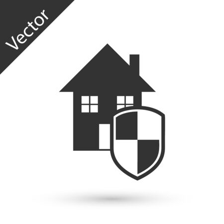 Grey House under protection icon isolated on white background. Home and shield. Protection, safety, security, protect, defense concept. Vector Illustration Ilustração