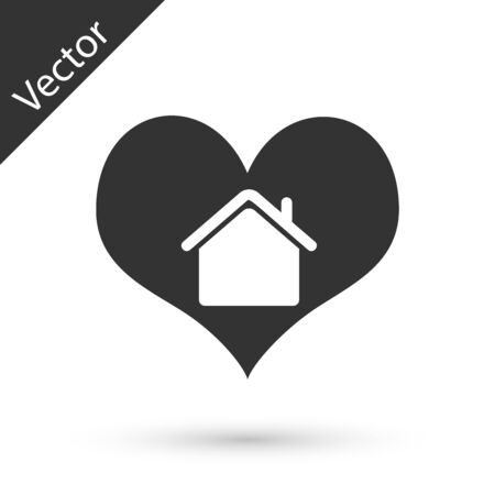 Grey House with heart shape icon isolated on white background. Love home symbol. Family, real estate and realty. Vector Illustration