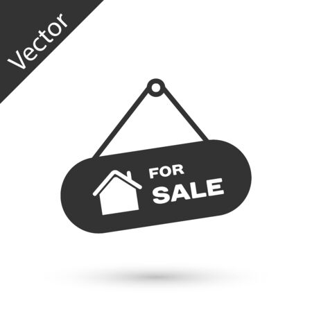 Grey Hanging sign with text For Sale icon isolated on white background. Signboard with text For Sale. Vector Illustration Stockfoto - 128606441