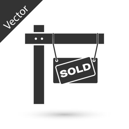 Grey Hanging sign with text Sold icon isolated on white background. Sold sticker. Sold signboard. Vector Illustration Ilustracja