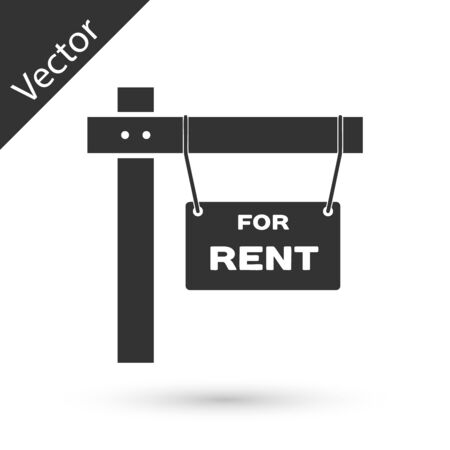 Grey Hanging sign with text For Rent icon isolated on white background. Signboard with text For Rent. Vector Illustration