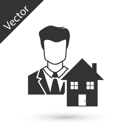 Grey Realtor icon isolated on white background. Buying house. Vector Illustration Stockfoto - 128606448