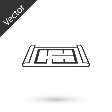 Grey House plan icon isolated on white background. Vector Illustration