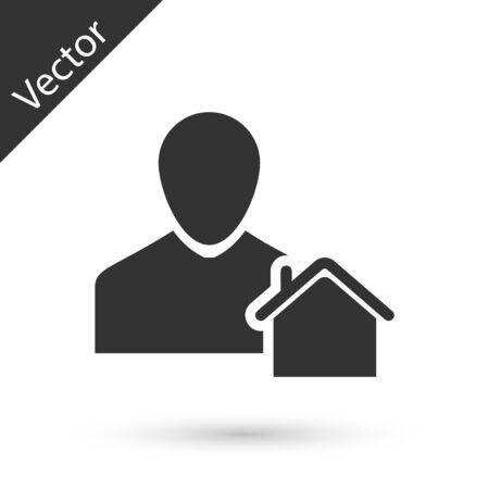 Grey Realtor icon isolated on white background. Buying house. Vector Illustration Stock Illustratie