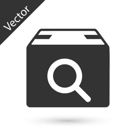 Grey Search package icon isolated on white background. Parcel tracking symbol. Magnifying glass and cardboard box. Logistic and delivery. Vector Illustration