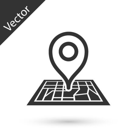 Grey Placeholder on map paper in perspective icon isolated on white background. Vector Illustration Illusztráció