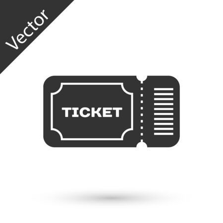 Grey Ticket icon isolated on white background. Vector Illustration