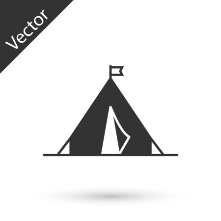 Grey Tourist tent with flag icon isolated on white background. Camping symbol. Vector Illustration