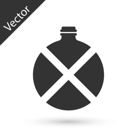 Grey Canteen water bottle icon isolated on white background. Tourist flask icon. Jar of water use in the campaign. Vector Illustration