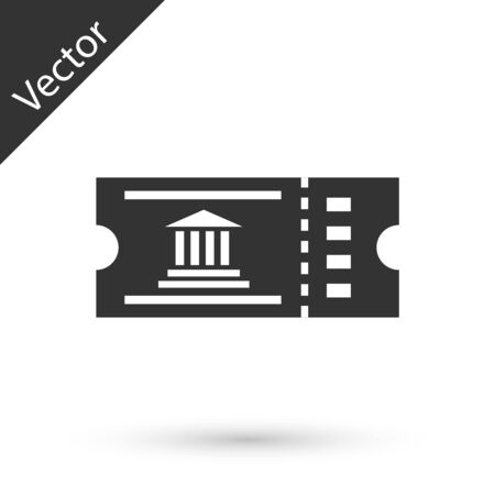 Grey Museum ticket icon isolated on white background. History museum ticket coupon event admit exhibition excursion. Vector Illustration