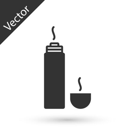 Grey Thermo container icon isolated on white background. Thermo flask icon. Camping and hiking equipment. Vector Illustration Ilustração