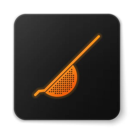 Orange glowing Kitchen colander icon isolated on white background. Cooking utensil. Cutlery sign. Black square button. Vector Illustration