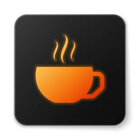 Orange glowing Coffee cup flat icon isolated on white background. Tea cup. Hot drink coffee. Black square button. Vector Illustration