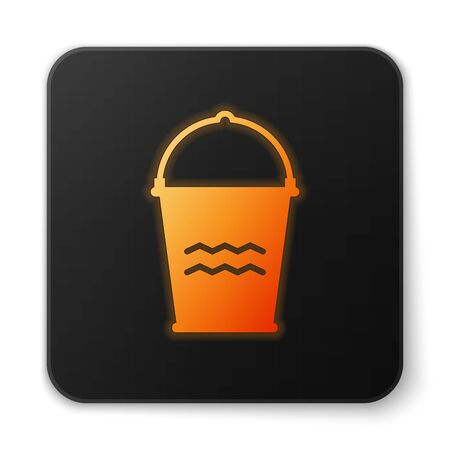 Orange glowing Bucket icon isolated on white background. Black square button. Vector Illustration  イラスト・ベクター素材