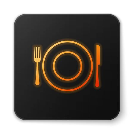 Orange glowing Plate, fork and knife icon isolated on white background. Cutlery symbol. Restaurant sign. Black square button. Vector Illustration