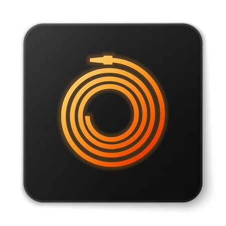 Orange glowing Garden hose or fire hose icon isolated on white background. Spray gun icon. Watering equipment. Black square button. Vector Illustration
