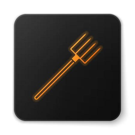 Orange glowing Garden pitchfork icon isolated on white background. Garden fork sign. Tool for horticulture, agriculture, farming. Black square button. Vector Illustration Ilustração