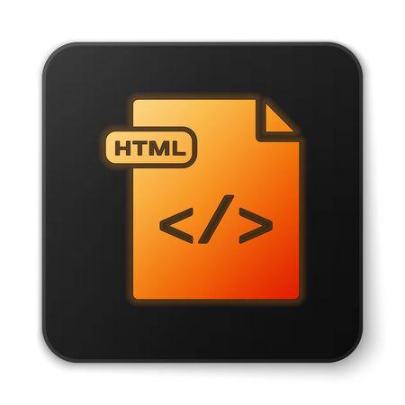Orange glowing neon HTML file document. Download html button icon isolated on white background. HTML file symbol. Markup language symbol. Black square button. Vector Illustration Ilustração