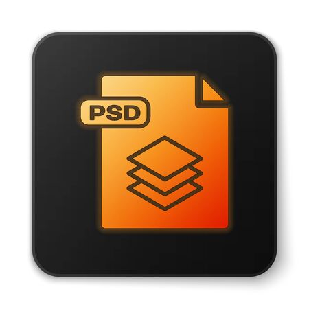 Orange glowing neon PSD file document. Download psd button icon isolated on white background. PSD file symbol. Black square button. Vector Illustration