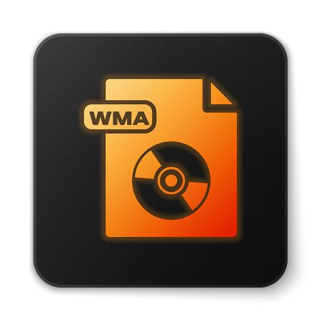 Orange glowing neon WMA file document. Download wma button icon isolated on white background. WMA file symbol. Wma music format sign. Black square button. Vector Illustration