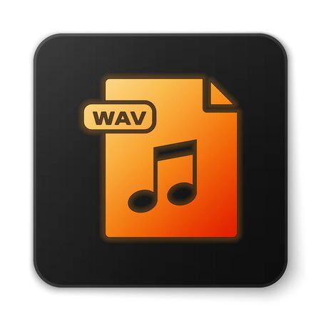 Orange glowing neon WAV file document. Download wav button icon isolated on white background. WAV waveform audio file format for digital audio riff files. Black square button. Vector Illustration Illustration