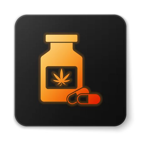 Orange glowing neon Medical bottle with marijuana or cannabis leaf icon isolated on white background. Mock up of cannabis oil extracts in jars. Black square button. Vector Illustration