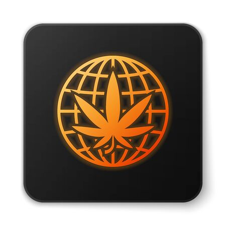 Orange glowing neon Legalize marijuana or cannabis globe symbol icon isolated on white background. Hemp symbol. Black square button. Vector Illustration