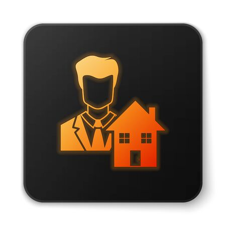 Orange glowing neon Realtor icon isolated on white background. Buying house. Black square button. Vector Illustration Illustration