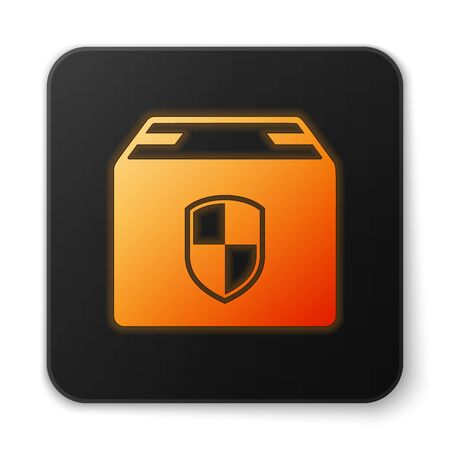 Orange glowing neon Delivery pack security symbol with shield icon isolated on white background. Delivery insurance. Insured cardboard boxes beyond the shield. Black square button. Vector Illustration